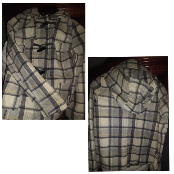 Old Navy Jackets & Blazers - Old Navy White Gray Plaid Hooded Peacoat Type XS